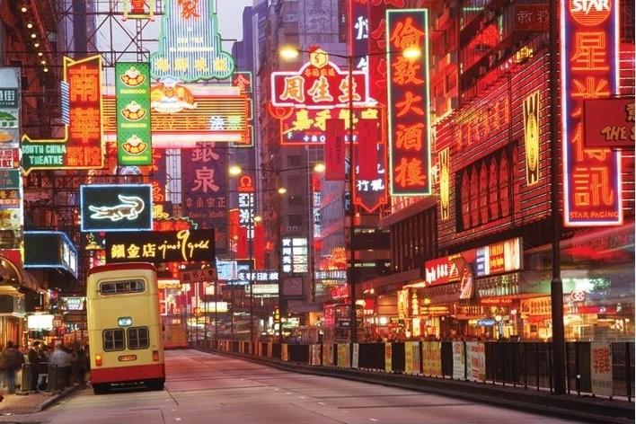 Plakát Hong Kong - neon