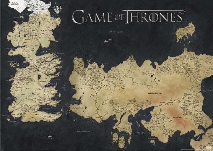 Plakát Hra o Trůny (Game of Thrones) - mapa