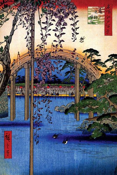 Plakát Inside Kameido Tenjin Shrine - Utagawa Hiroshige