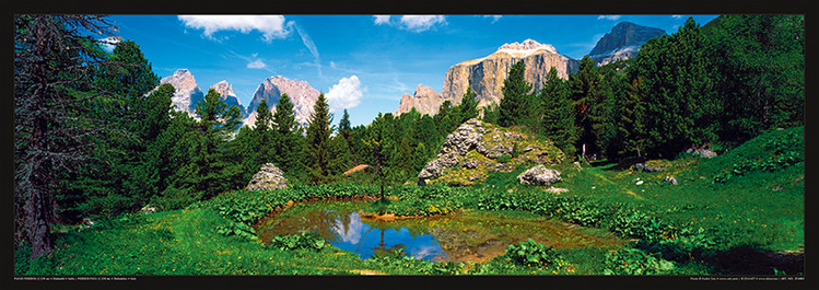 Plakát Itálie - Dolomity, Saas Rigais u vody