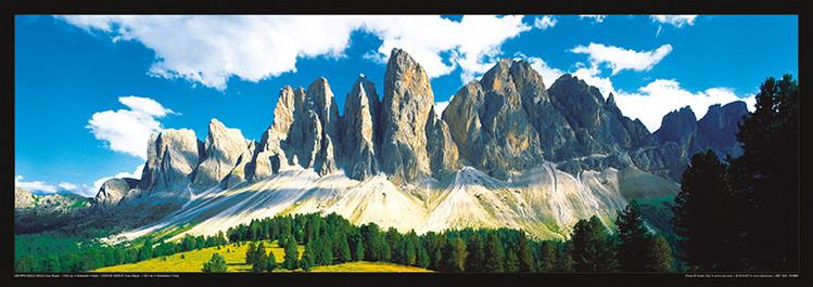 Plakát Itálie - Dolomity, Saas Rigais západ slunce