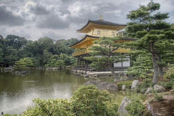 Plakát Japonsko Kinkakuji - chrám zlatého pavilonu