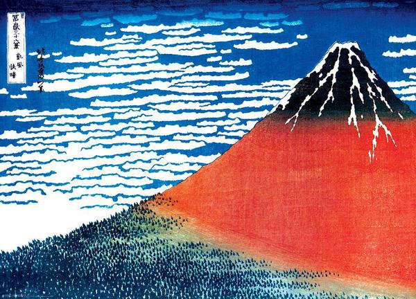 Plakat Katsushika Hokusai - mount fuji red