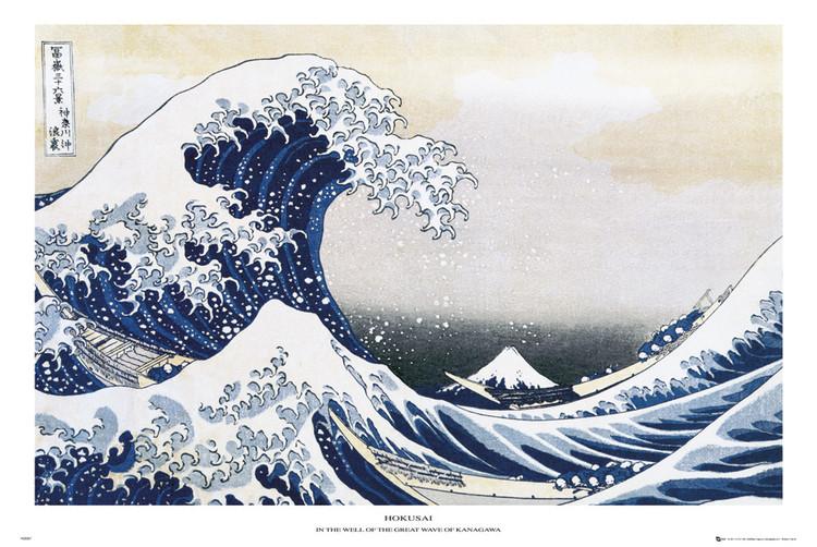Plakát Katsushika Hokusai- velká vlna u pobřeží kanagawy