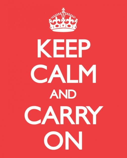 Plakát Keep calm & carry on - red