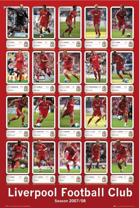 Plakát Liverpool - squad profiles 07/08