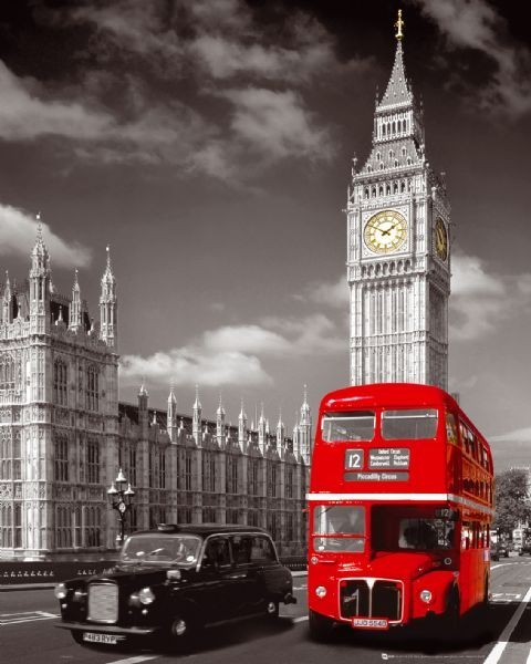 Plakat Londyn - big ben / bus