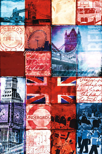 Plakát Londýn - Patchwork