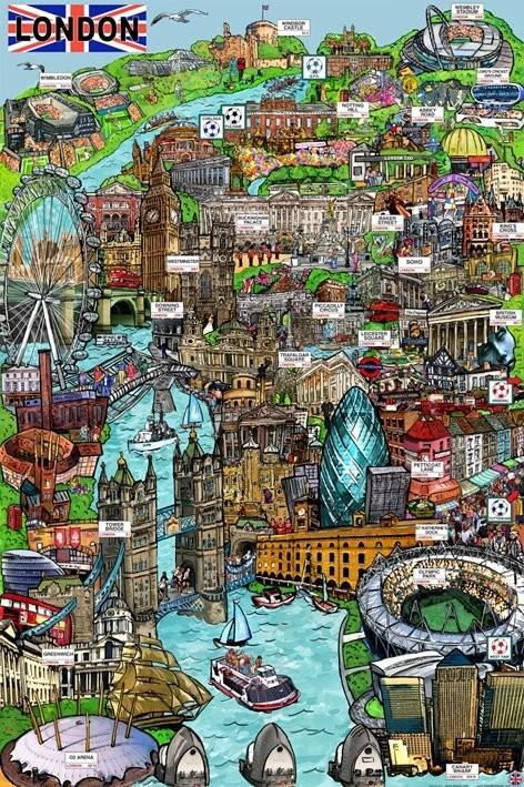 Plakát Londýn - sketch