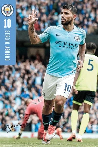 Plakat  Manchester City - Aguero 18-19