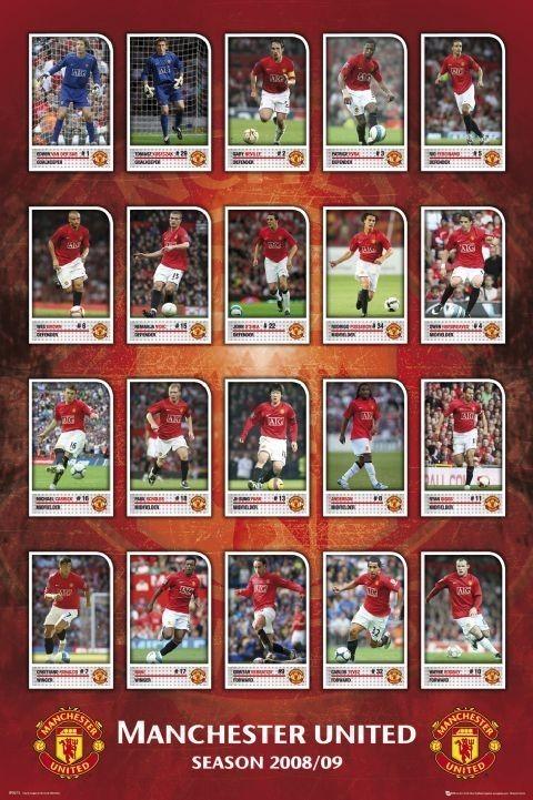 Plakát Manchester United - squad profiles 08/09