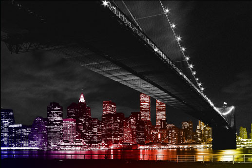 Plakát Manhattan night - colour