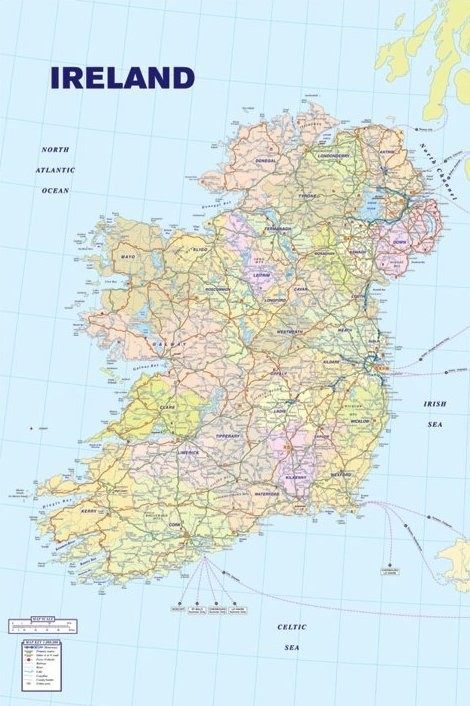 Plakat Map of Ireland