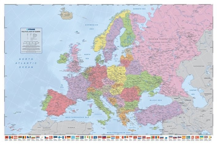 Mapa Evropy - politická plakát, obraz