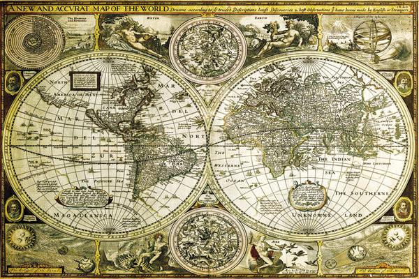 Plakát Mapa světa - historická