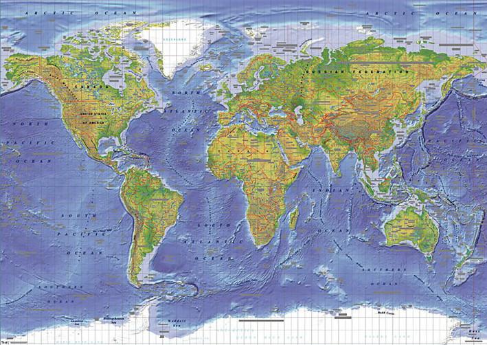 Plakat Mapa Świata Fizyczna