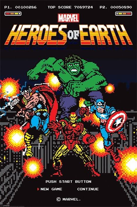 Plakát Marvel Retro - 8-Bit