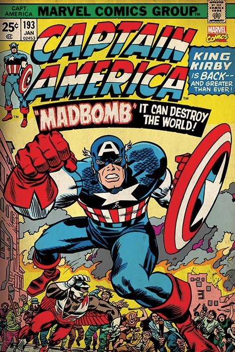 Plakat Marvel Retro - Captain America - Madbomb