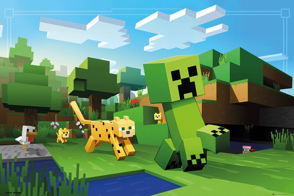 Plakat obraz minecraft ocelot chase kup na for Build my house online free
