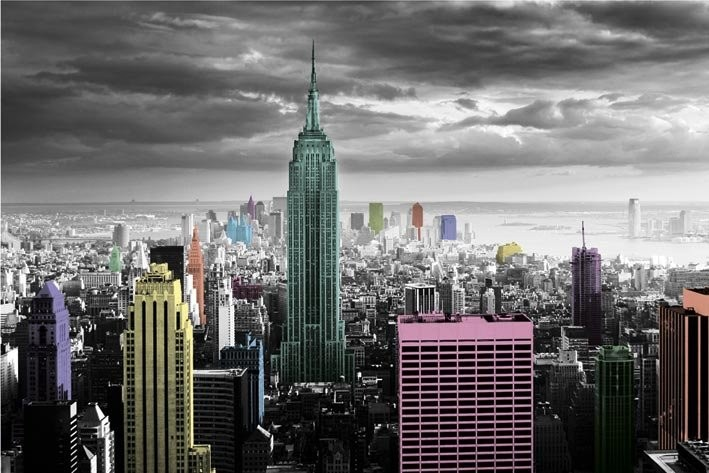 Plakát New York - colour splash