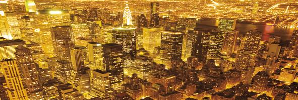 Plakát New York - golden