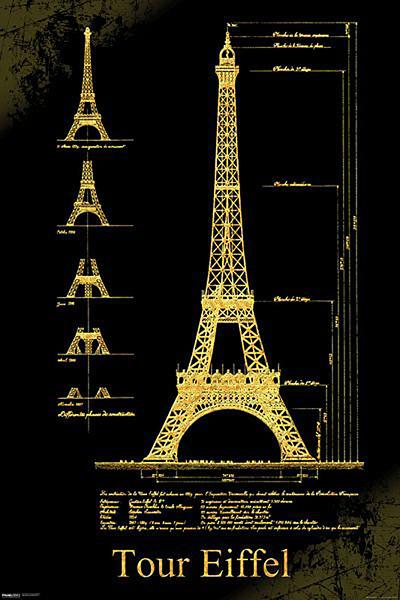 Plakát Paříž - Eiffelova věž