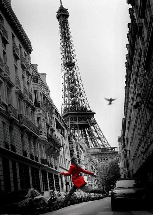 Plakát Paříž - la veste rouge