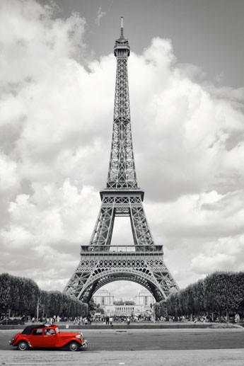 Plakat Paryz - red car