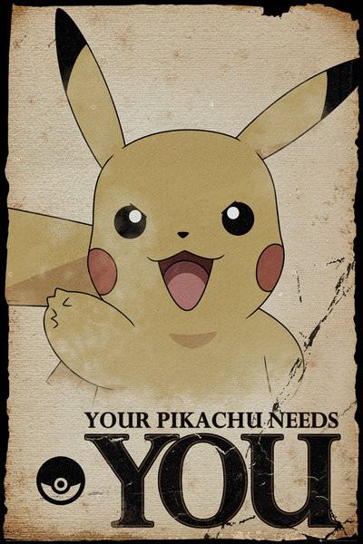 Plakát  Pokemon - Pikachu Needs You