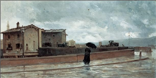 Reprodukcja Ponte alle Grazie - Woman Crossing the Bridge, 1881