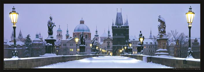 Plakát Praha - Karlův most / sníh