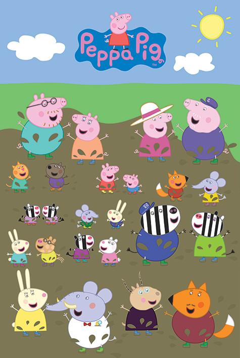 Plakát Prasátko Peppa - Characters Muddy Puddle