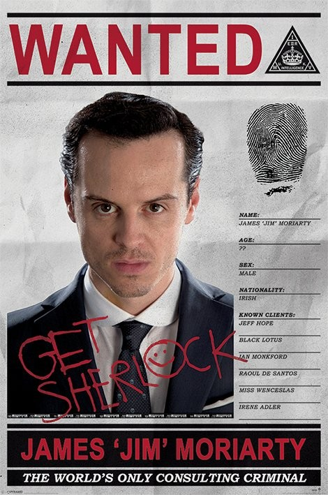 Plakát Sherlock - Moriarty Wanted