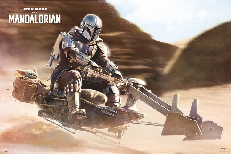 Plakát Star Wars: The Mandalorian - Speeder Bike