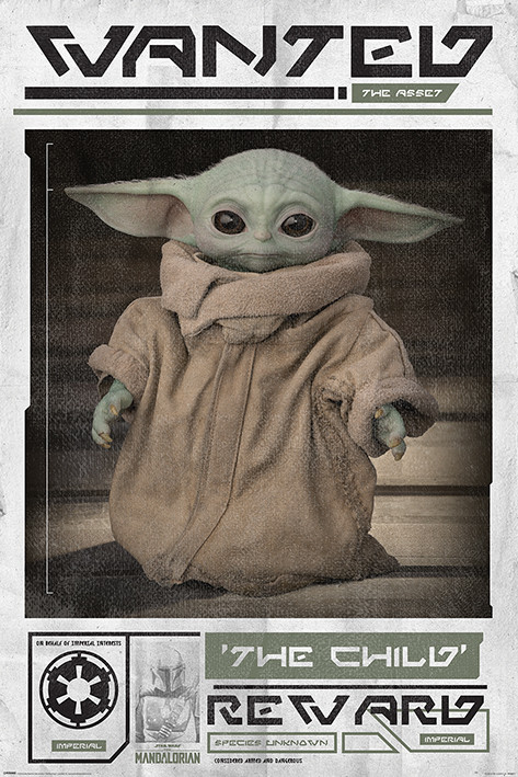 Plakát Star Wars: The Mandalorian - Wanted The Child (Baby Yoda)