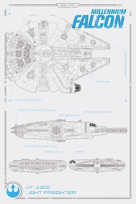 Plakát Star Wars VII: Síla se probouzí - Millennium Falcon Plans