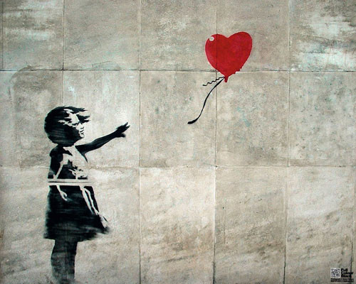 Plakát Streetart - balloon girl