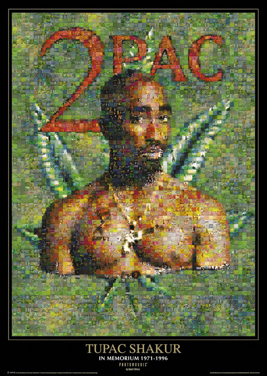 Tupac - photomosaic dope  plakát, obraz