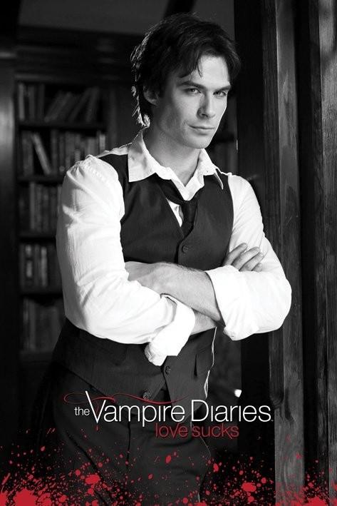 Plakát  Vampire Diaries - Damon (B&W)
