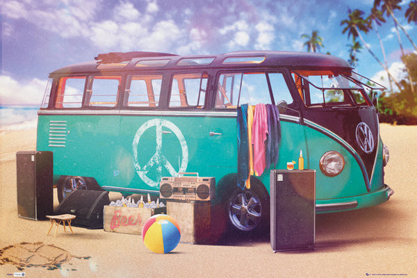Plakát  VW Volkswagen Camper - party