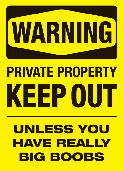 Plakat Warning - boobs