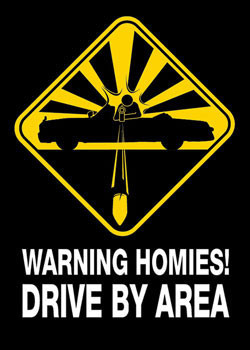 Plakát Warning - homies
