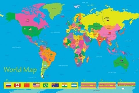 Plakat World map - population of children