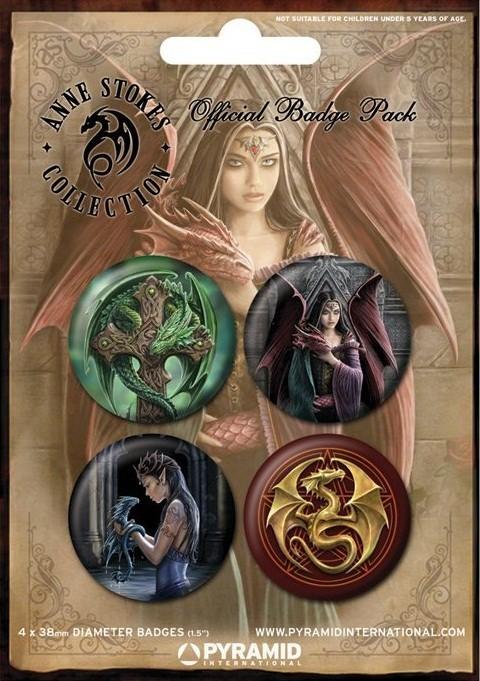 Plakietki zestaw ANNE STOKES - dragons