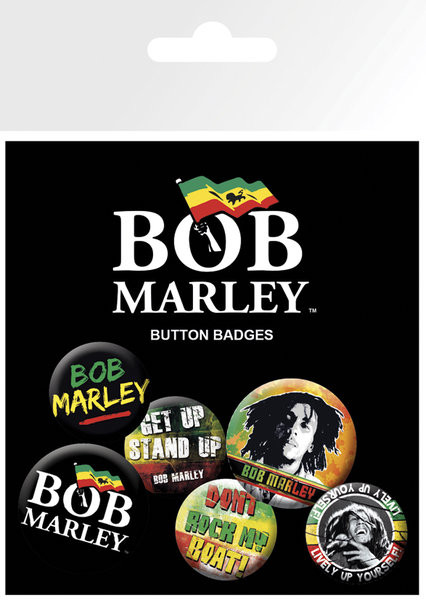 Plakietki zestaw BOB MARLEY - logos