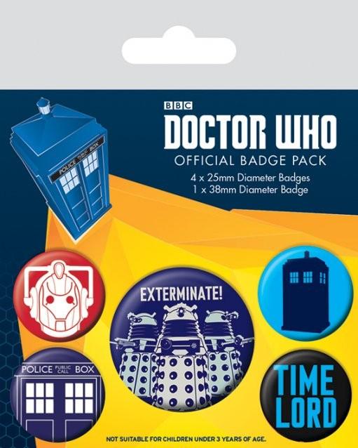 Plakietki zestaw Doctor Who - Exterminate