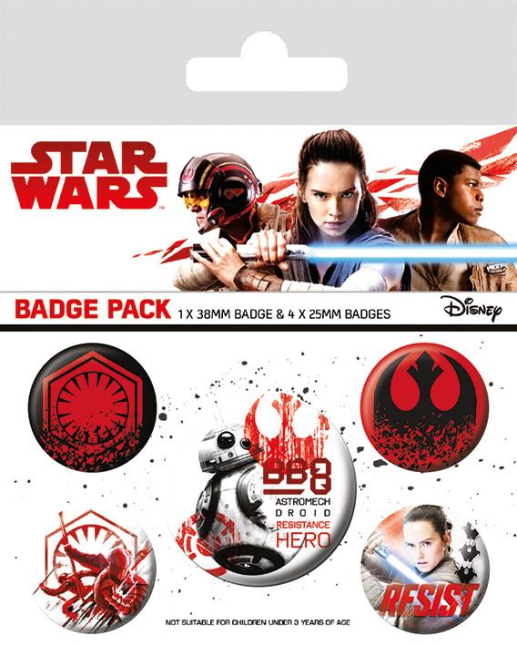 Plakietki zestaw Gwiezdne wojny: Ostatni Jedi- Resist