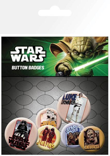 Plakietki zestaw Gwiezdne wojny - Retro