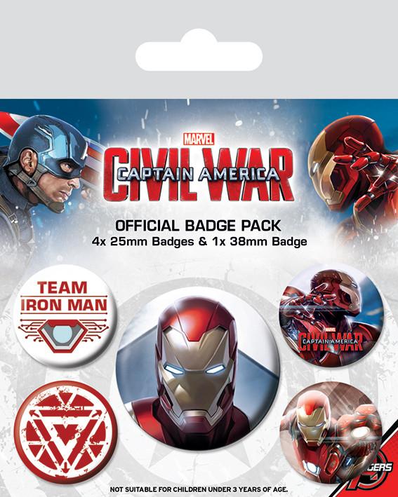 Plakietki zestaw  Kapitan Ameryka: Wojna bohaterów - Iron Man