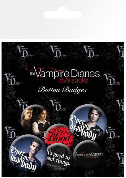 Plakietki zestaw Pamiętniki wampirów - Stefan & Damon